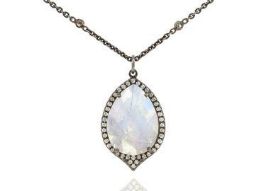 Lauren K Moonstone and Diamond pendant LK34
