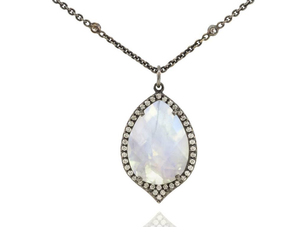 Lauren K Moonstone and Diamond Pendant