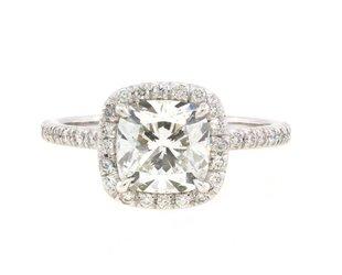 Trabert Goldsmiths 1.74ct Cushion Diamond Goddess Plat Ring E1866