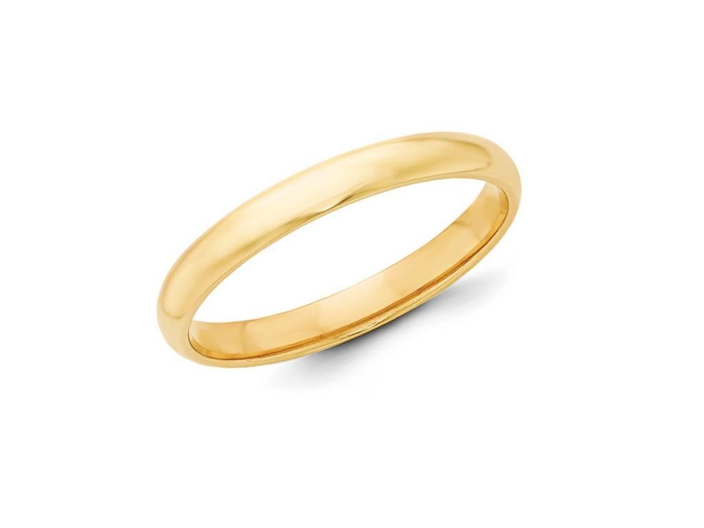 3mm Half Round 18k Gold Band