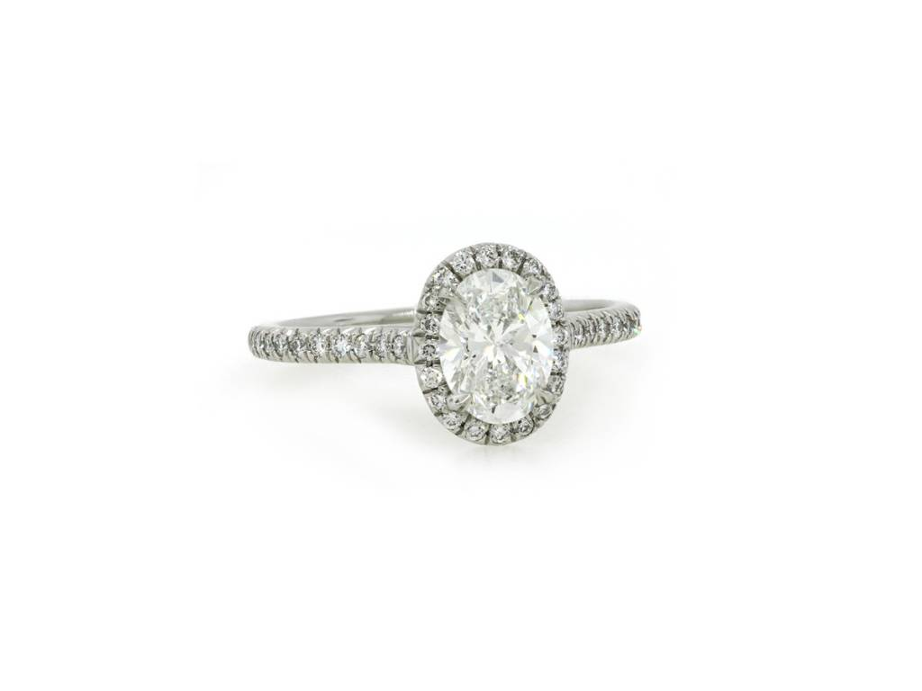 Trabert Goldsmiths 1.01ct Oval Diamond Goddess Halo Ring