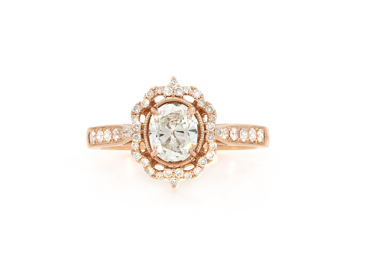 Beverley K Collection Filagree Oval Diamond Rose Gold Ring