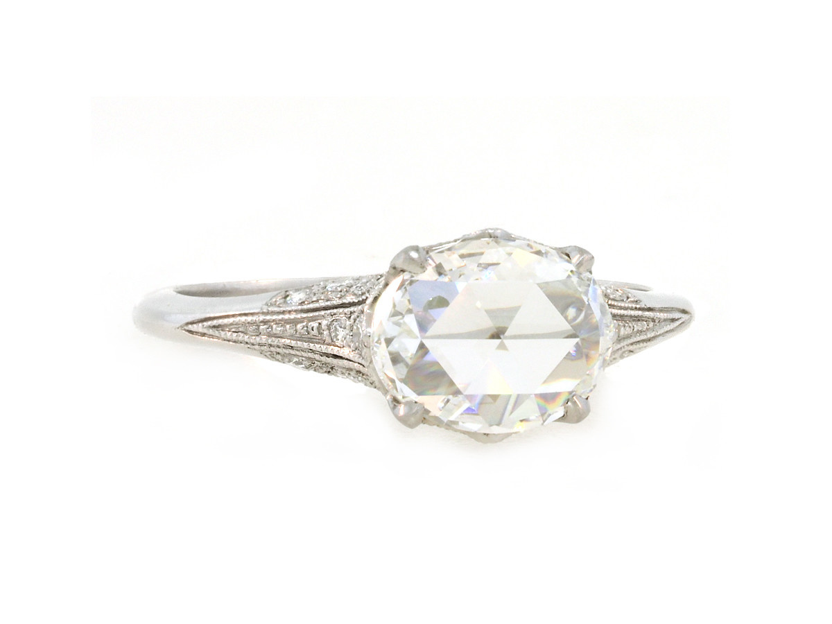 1.13ct Oval Rose Cut Dia Antique Style Ring