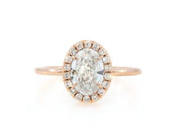 Trabert Goldsmiths 1.02ct FSI2 Oval Diamond Goddess Ring E1776