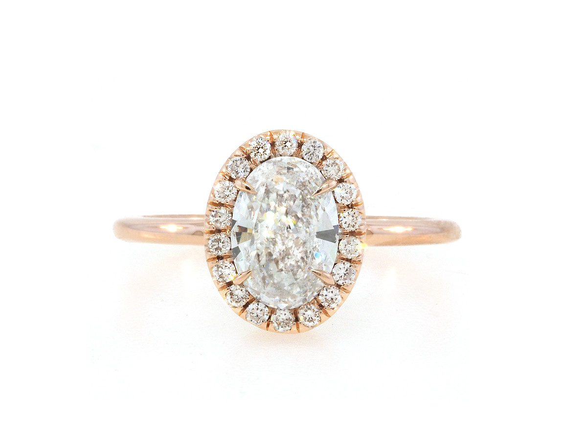 Trabert Goldsmiths 1.02ct Oval Diamond Goddess Halo Ring