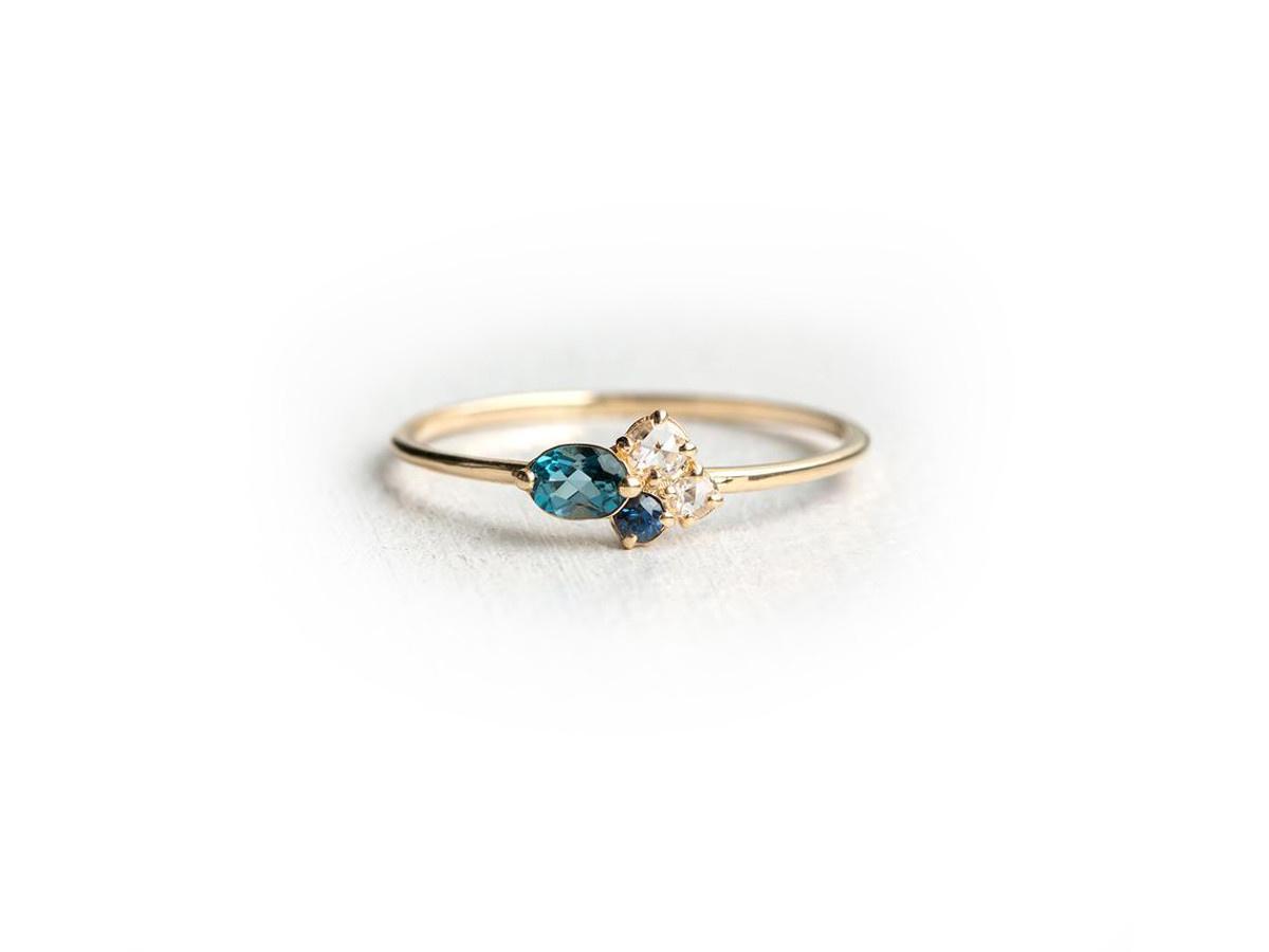 Melanie Casey Navy Mini Cluster Gold Ring