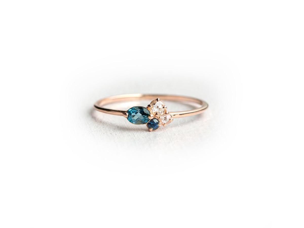 Melanie Casey Navy Mini Rose Gold Cluster Ring