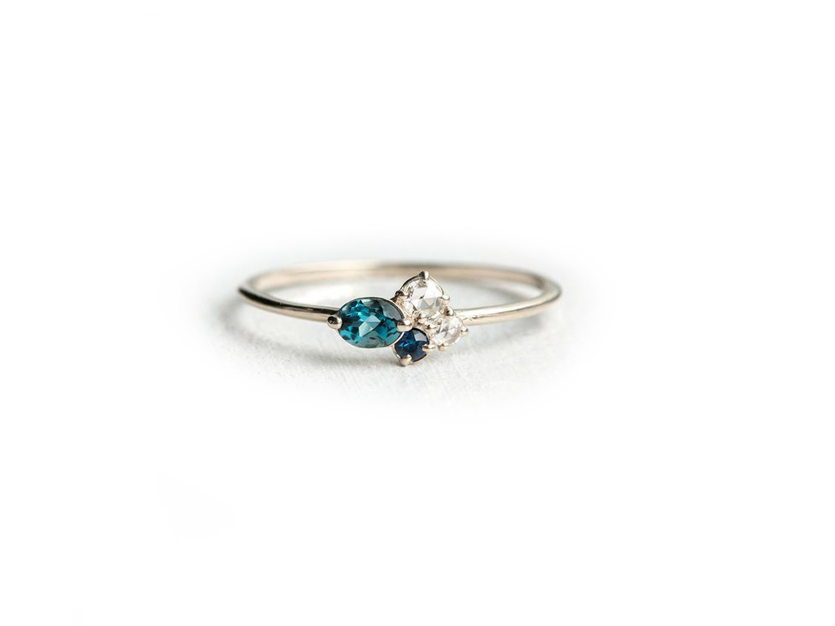 Melanie Casey Navy Mini White Gold Cluster Ring