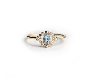 Melanie Casey Through the Mist in Aquamarine Gold Ring ME46