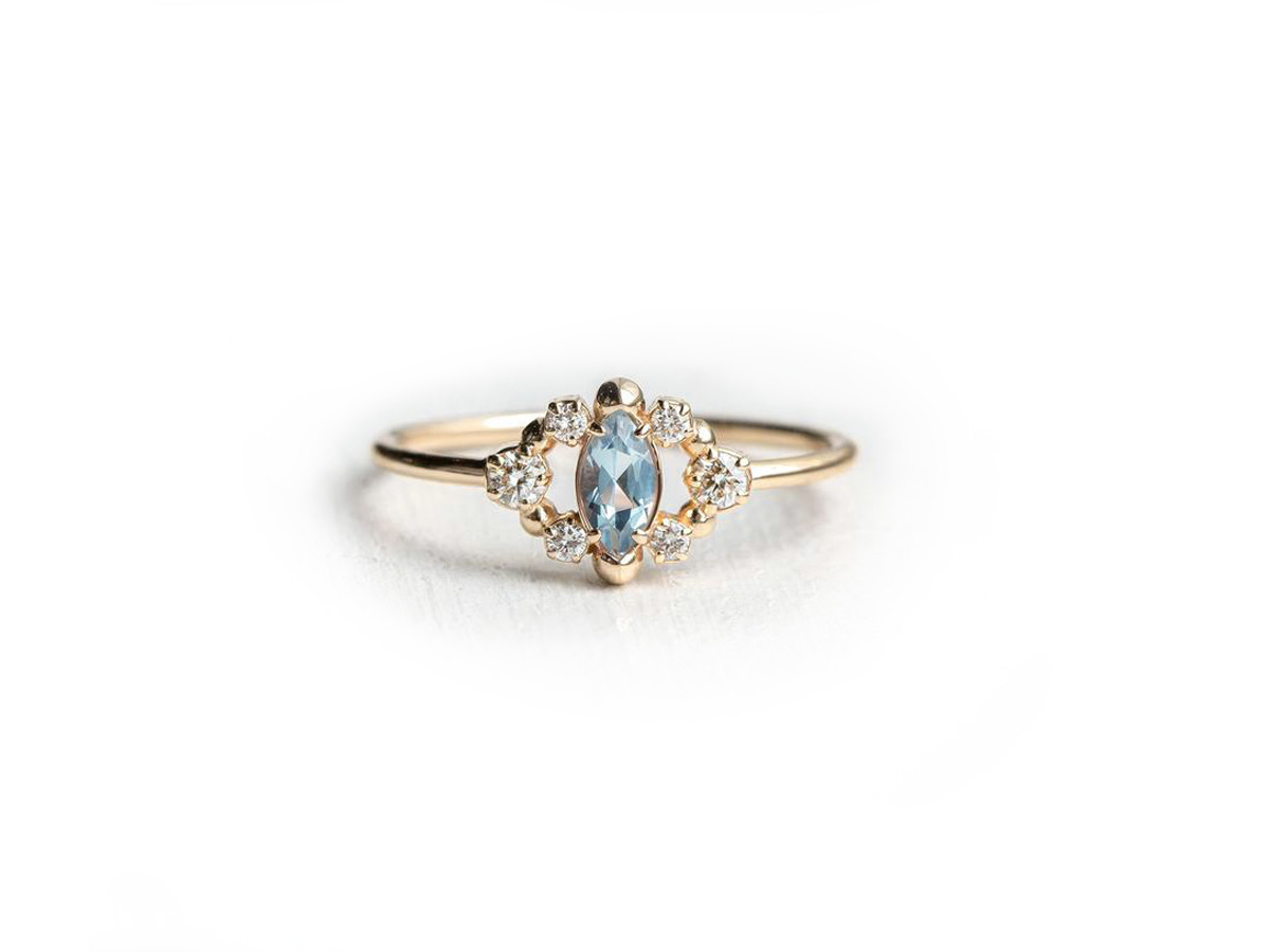 Melanie Casey Through the Mist in Aquamarine Gold Ring