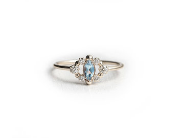 Melanie Casey Through the Mist in Aqua White Gold Ring ME47