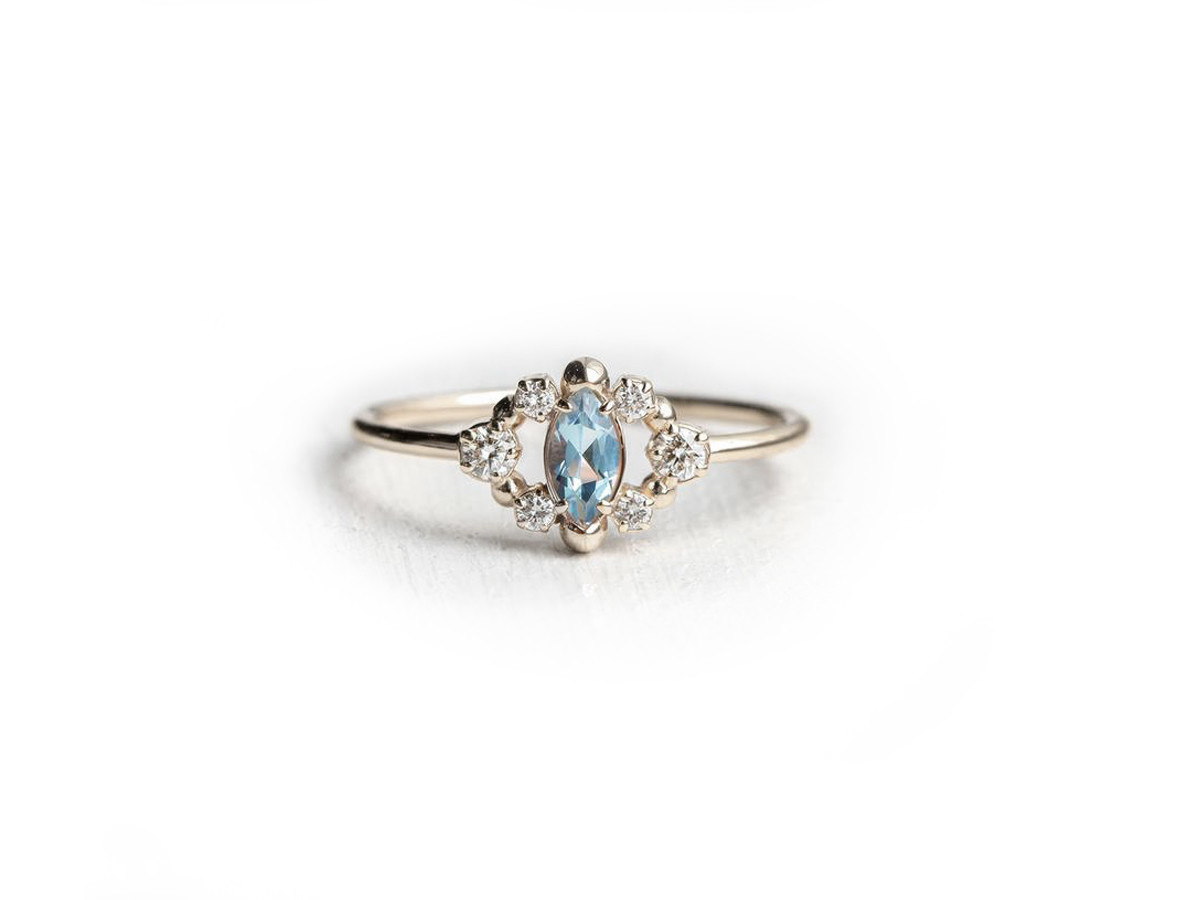 Melanie Casey Through the Mist in Aqua White Gold Ring