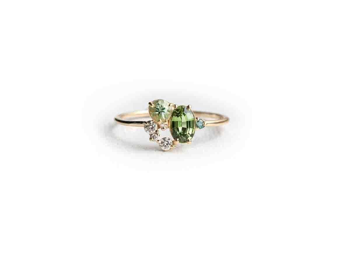 Melanie Casey Sapphire Grasslands Green Cluster Ring
