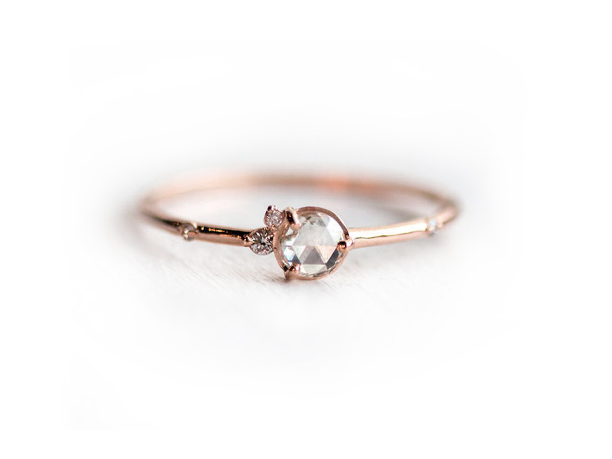 Melanie Casey Flurry Rose Cut Cluster Rose Gold Ring