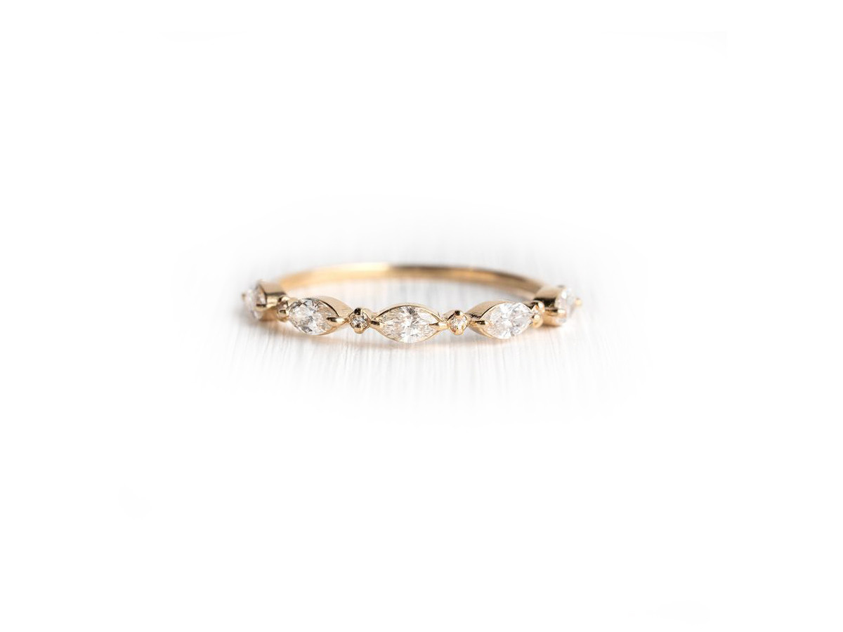 Melanie Casey Diamond Interwoven Gold Band