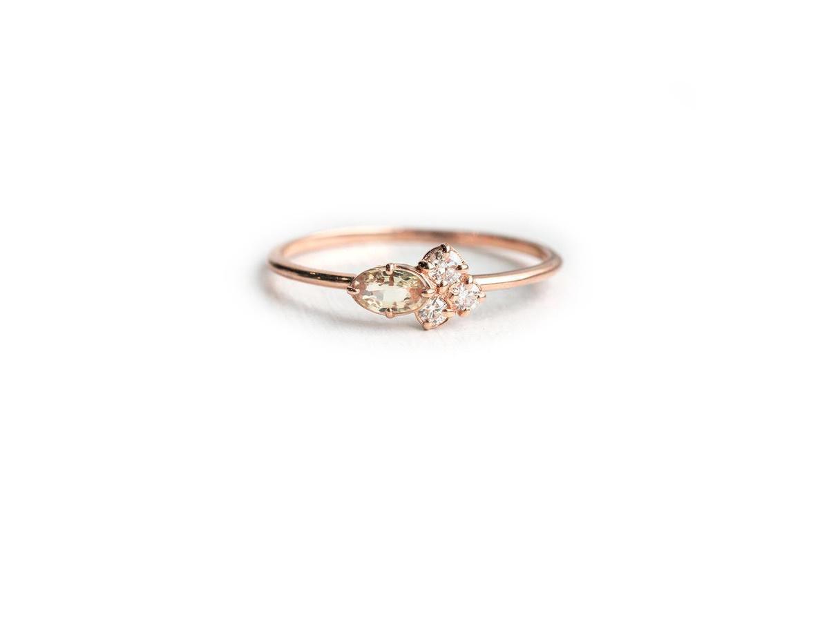 Melanie Casey Light Peach Mini Cluster Rose Gold Ring