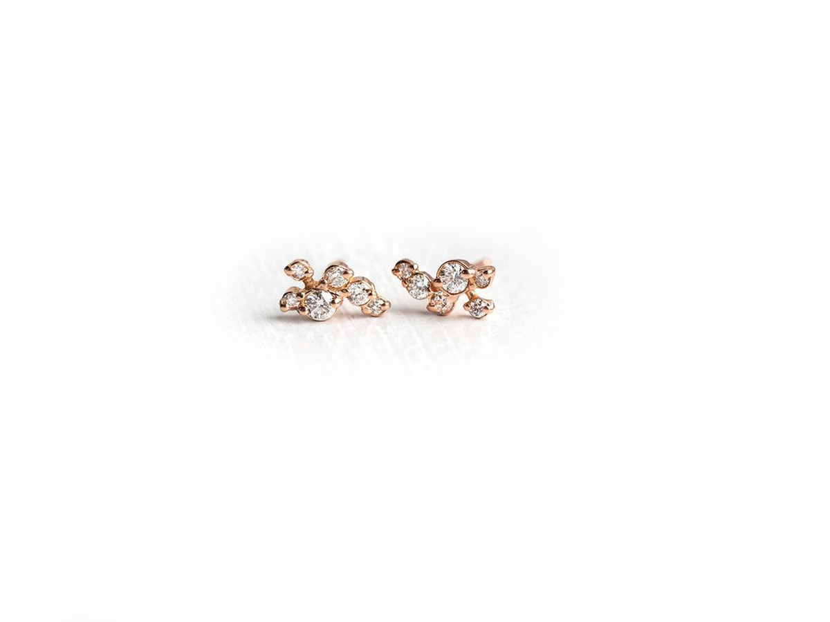 Melanie Casey Clustered Diamond Dusting Rose Gold Studs