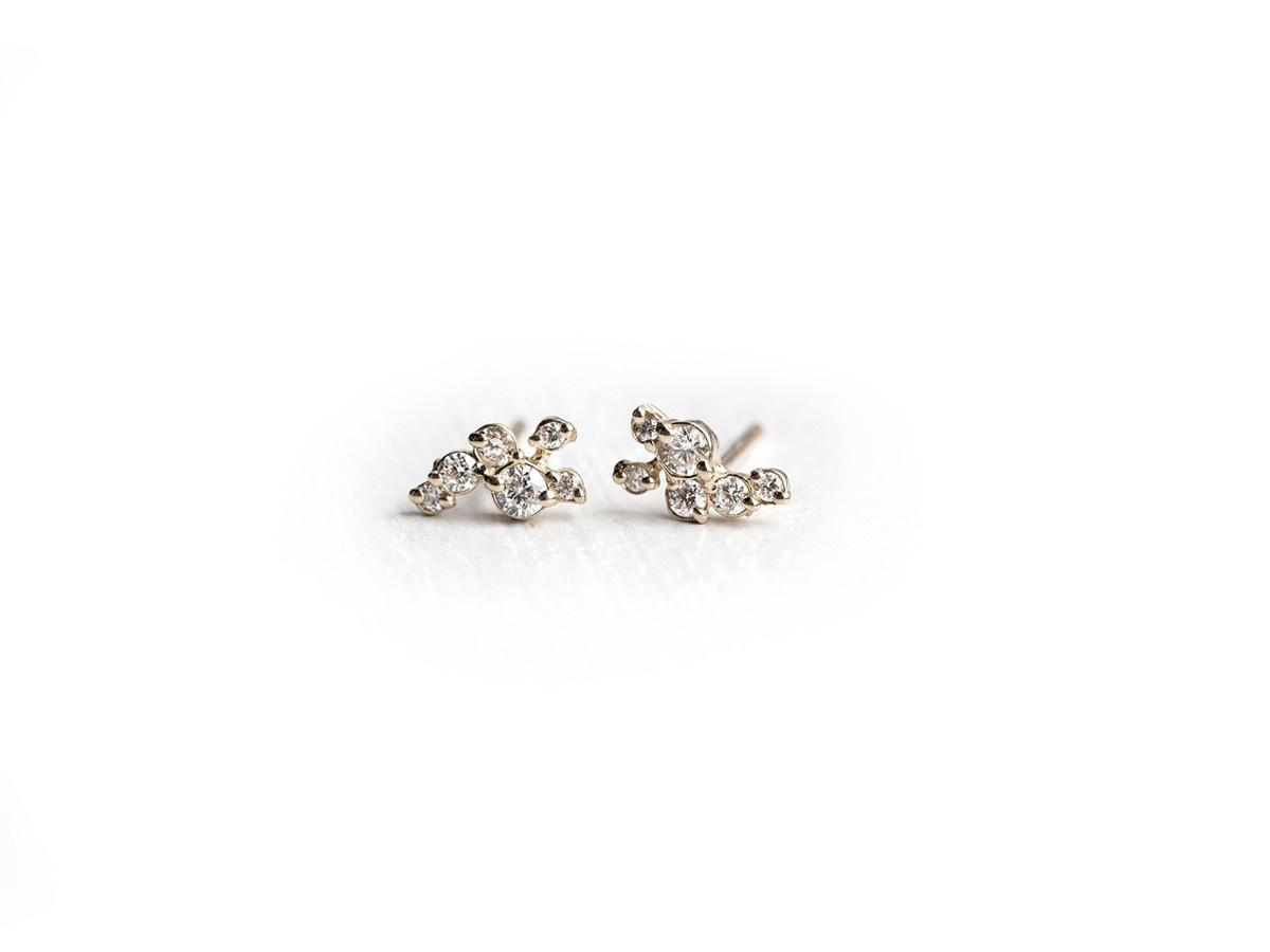 Melanie Casey Clustered Diamond Dusting White Gold Studs