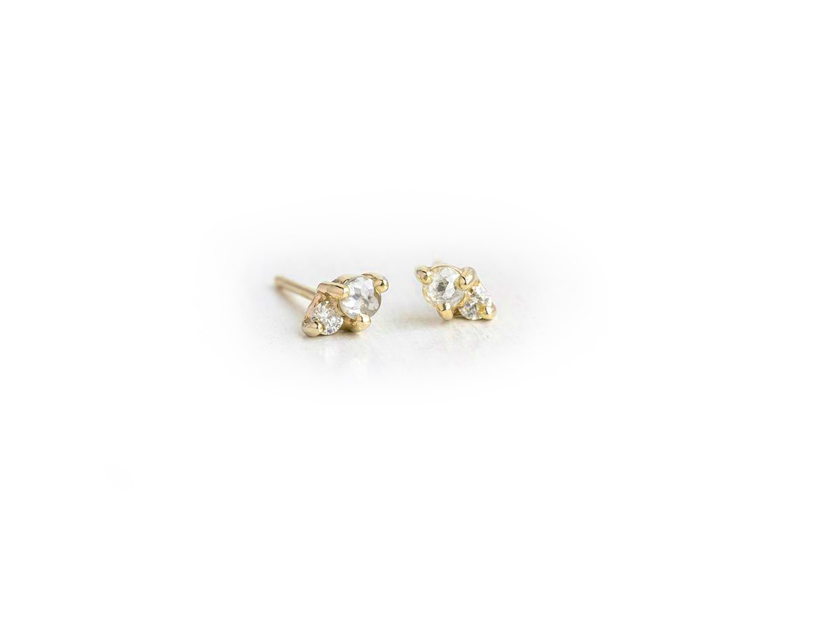 Melanie Casey Grey Dia Little Kinship Gold Studs