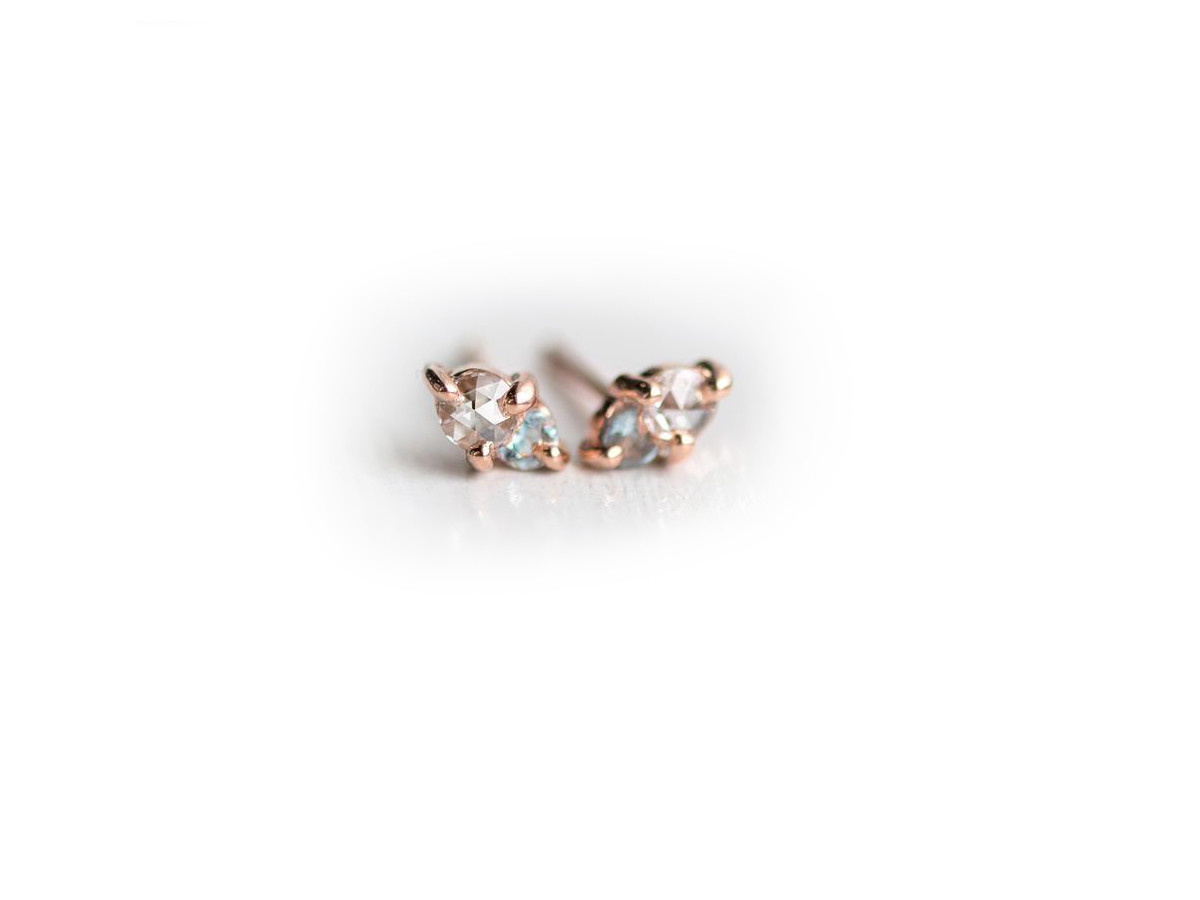 Melanie Casey Aquamarine & Diamond Little Kinship Rose Studs