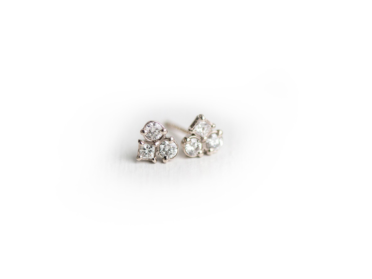 Melanie Casey Mosaic Diamond White Gold Studs