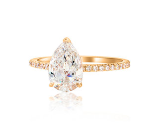 Trabert Goldsmiths 1.26ct DVS1 Pear Diamond Aura Ring E1896
