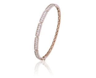 Luvente Pave Diamond Sectioned Rose Gold Bangle LV81