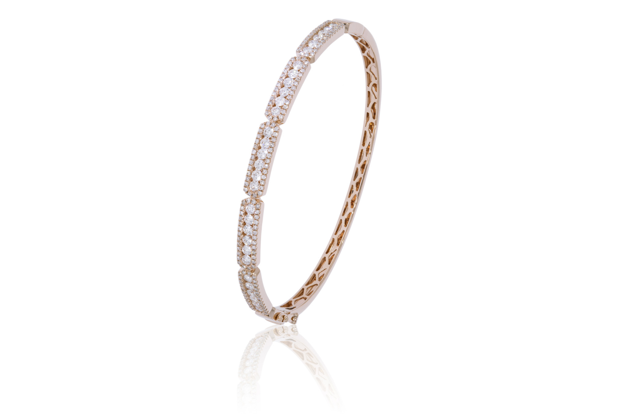 Luvente Pave Diamond Sectioned Rose Gold Bangle