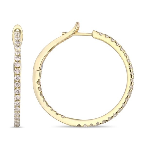 Luvente Medium Diamond Gold Hoop Earrings