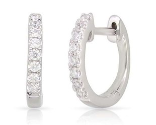 Luvente Small Pave Diamond White Gold Hoops LV85
