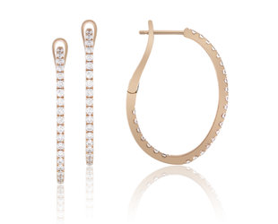 Luvente Oval Diamond Rose Gold Hoop Earrings LV86