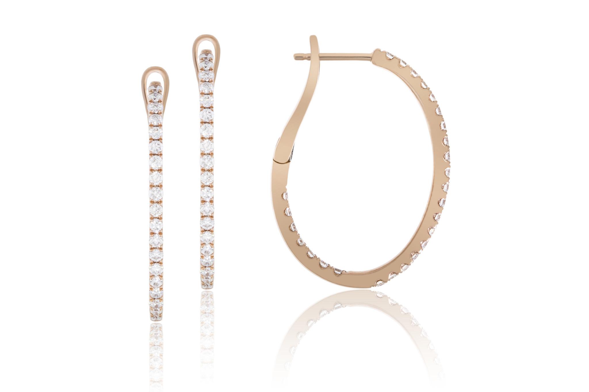 Luvente Oval Diamond Rose Gold Hoop Earrings