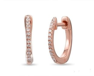 Luvente Small Pave Diamond Rose Gold Hoops LV87