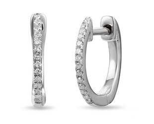 Luvente Small Pave Diamond White Gold Hoops LV88