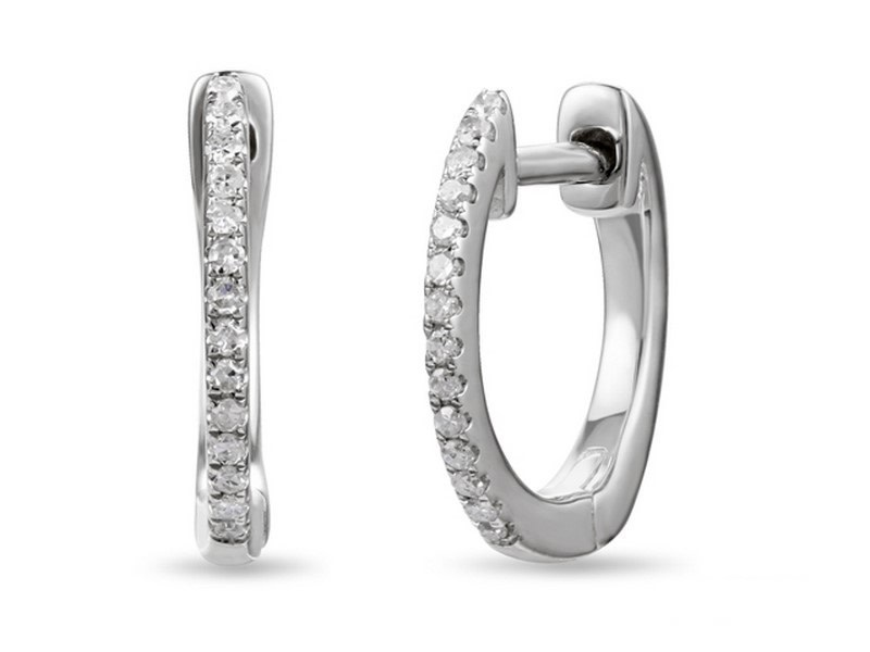 Luvente Small Pave Diamond White Gold Hoops