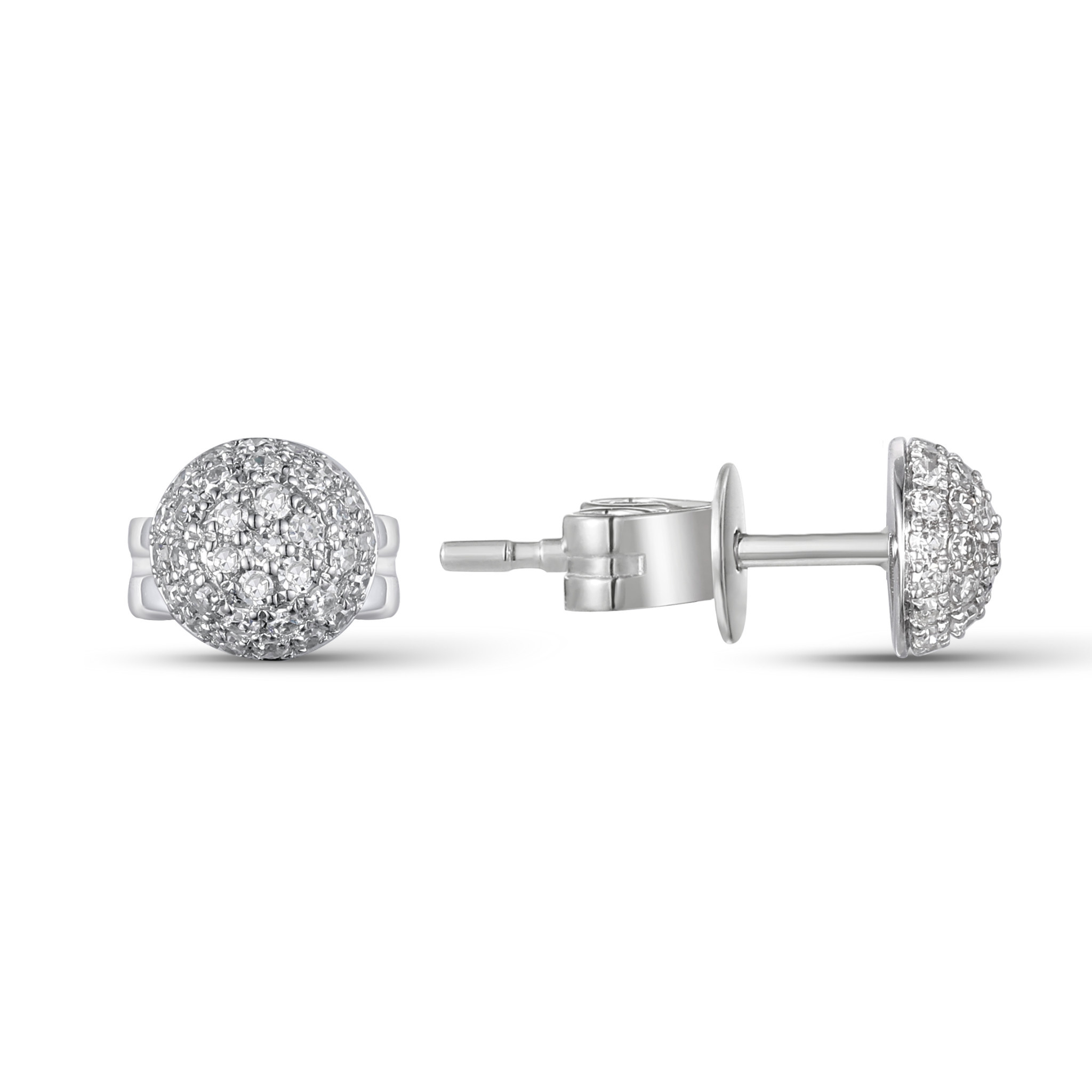 Luvente Small Pave Diamond Dome Stud Earrings