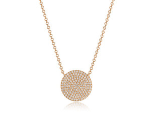 Luvente Pave Diamond Rose Gold Disk Necklace LV92