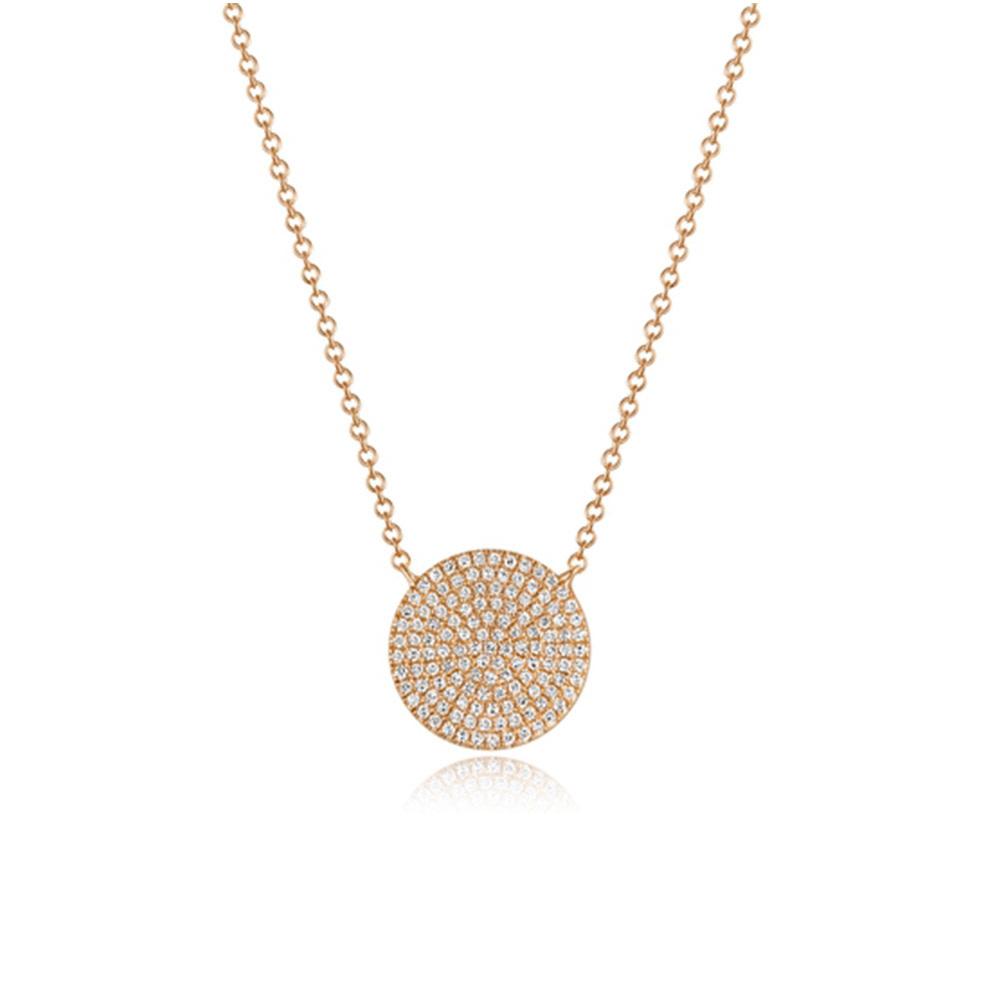 Luvente Pave Diamond Rose Gold Disk Necklace LV92