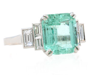 Trabert Goldsmiths 3.55ct Colombian Emerald Deco Ring E1373