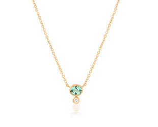 Trabert Goldsmiths Green Aquamarine and Diamond Necklace E1908
