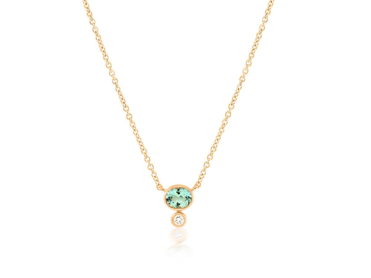 Trabert Goldsmiths Green Aquamarine and Diamond Necklace