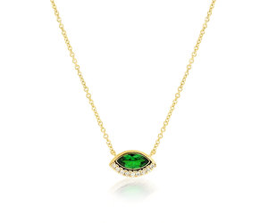 Trabert Goldsmiths Tsavorite Garnet Marquise Necklace E1910