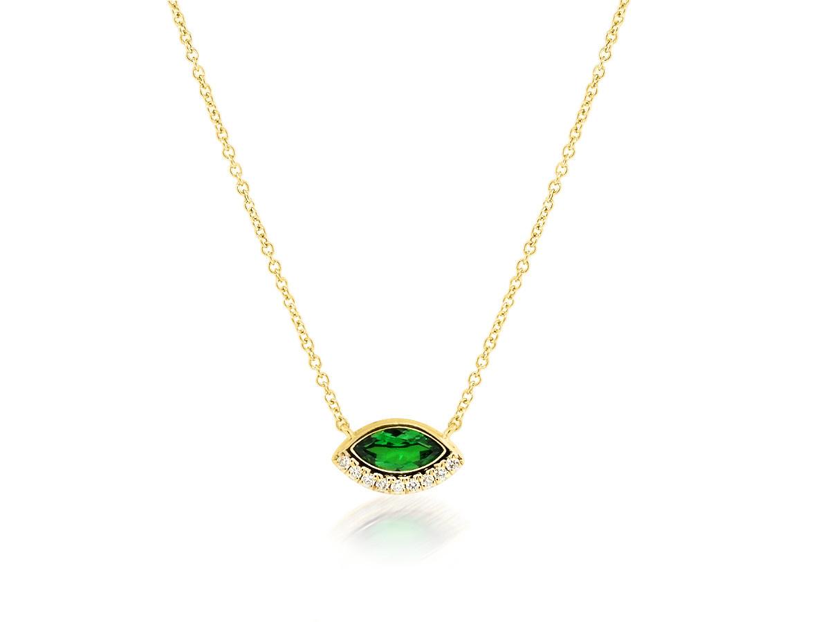 Trabert Goldsmiths Tsavorite Garnet Marquise Necklace