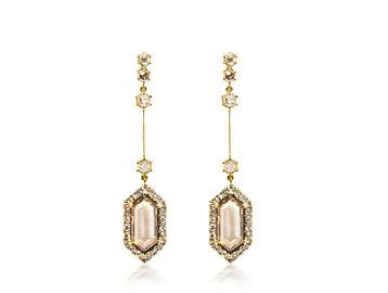 Trabert Goldsmiths Champagne Diamond Rose Cut Earrings E1911