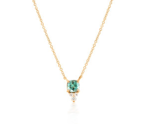 Trabert Goldsmiths Green Aquamarine Triple Diamond Necklace E1909