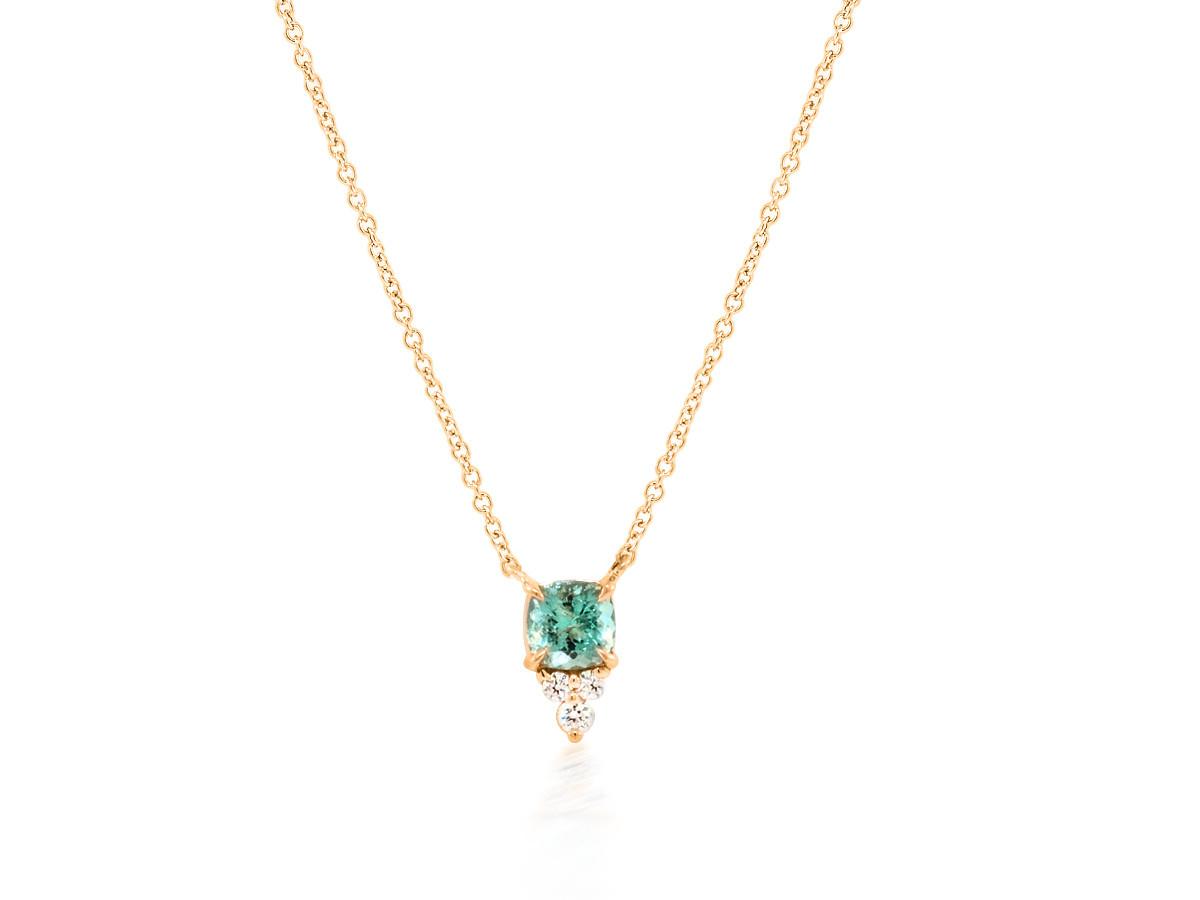 Trabert Goldsmiths Green Aquamarine Triple Diamond Necklace