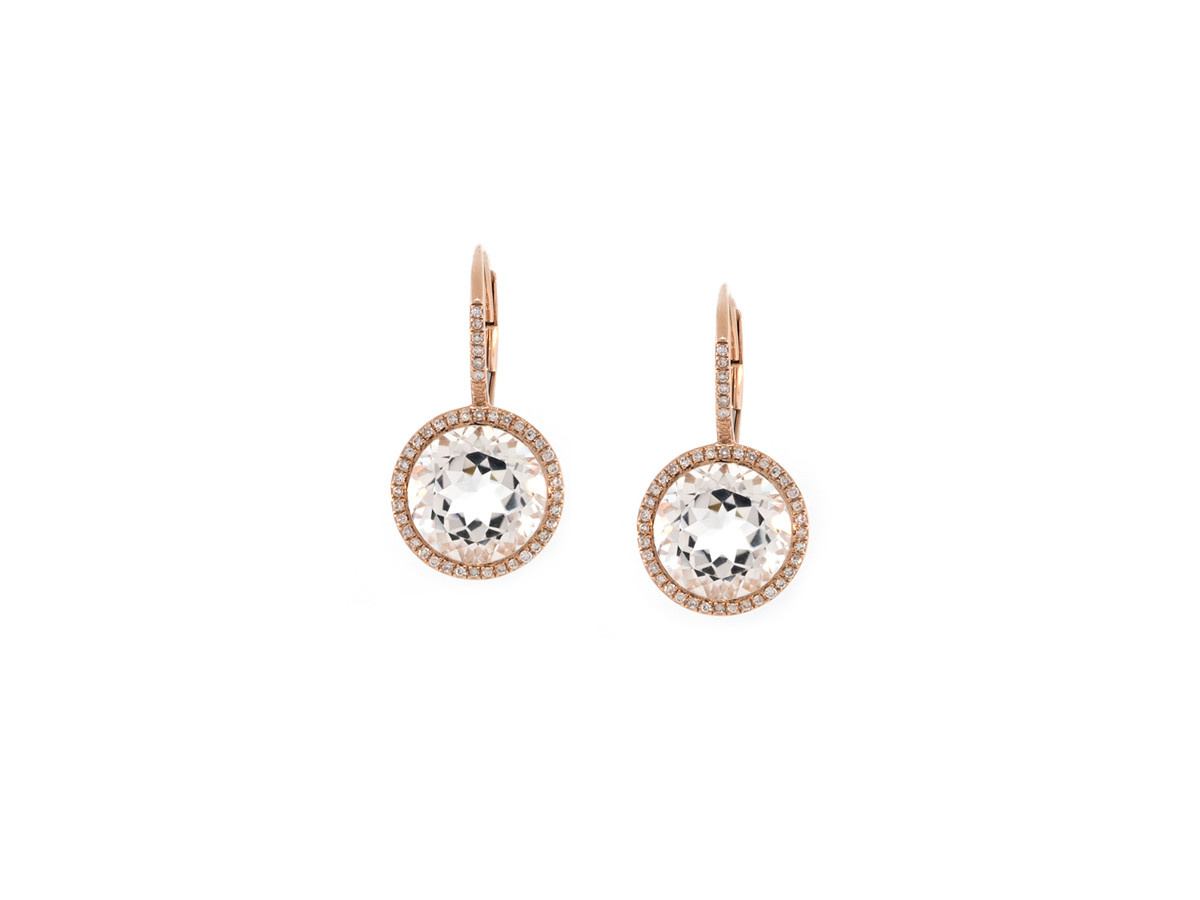 Luvente Rose Gold White Topaz Pave Halo Earrings