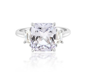 Trabert Goldsmiths 4.05ct Pale Blue Radiant Cut Twilight Ring E1905