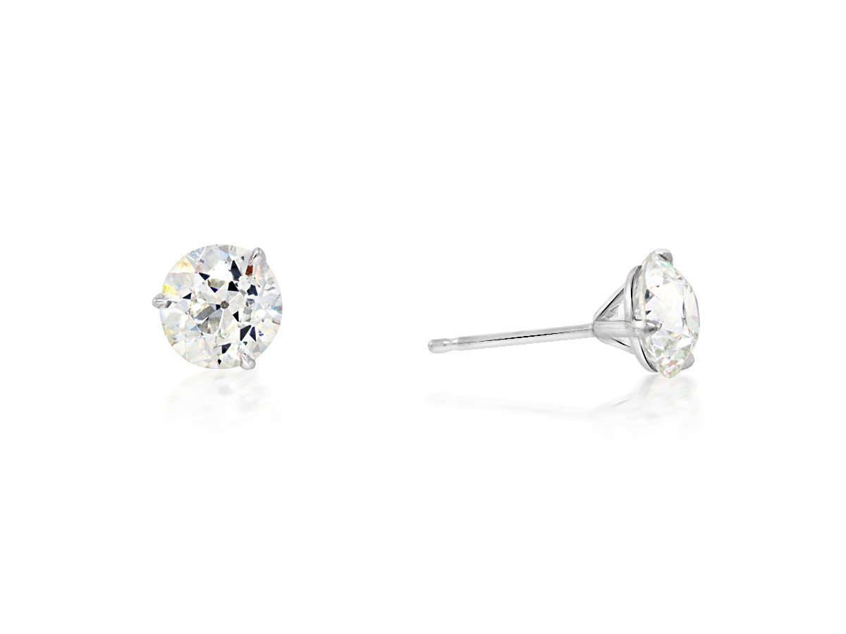 Trabert Goldsmiths 2.38ct H/I VS1 Old European Cut Dia Studs