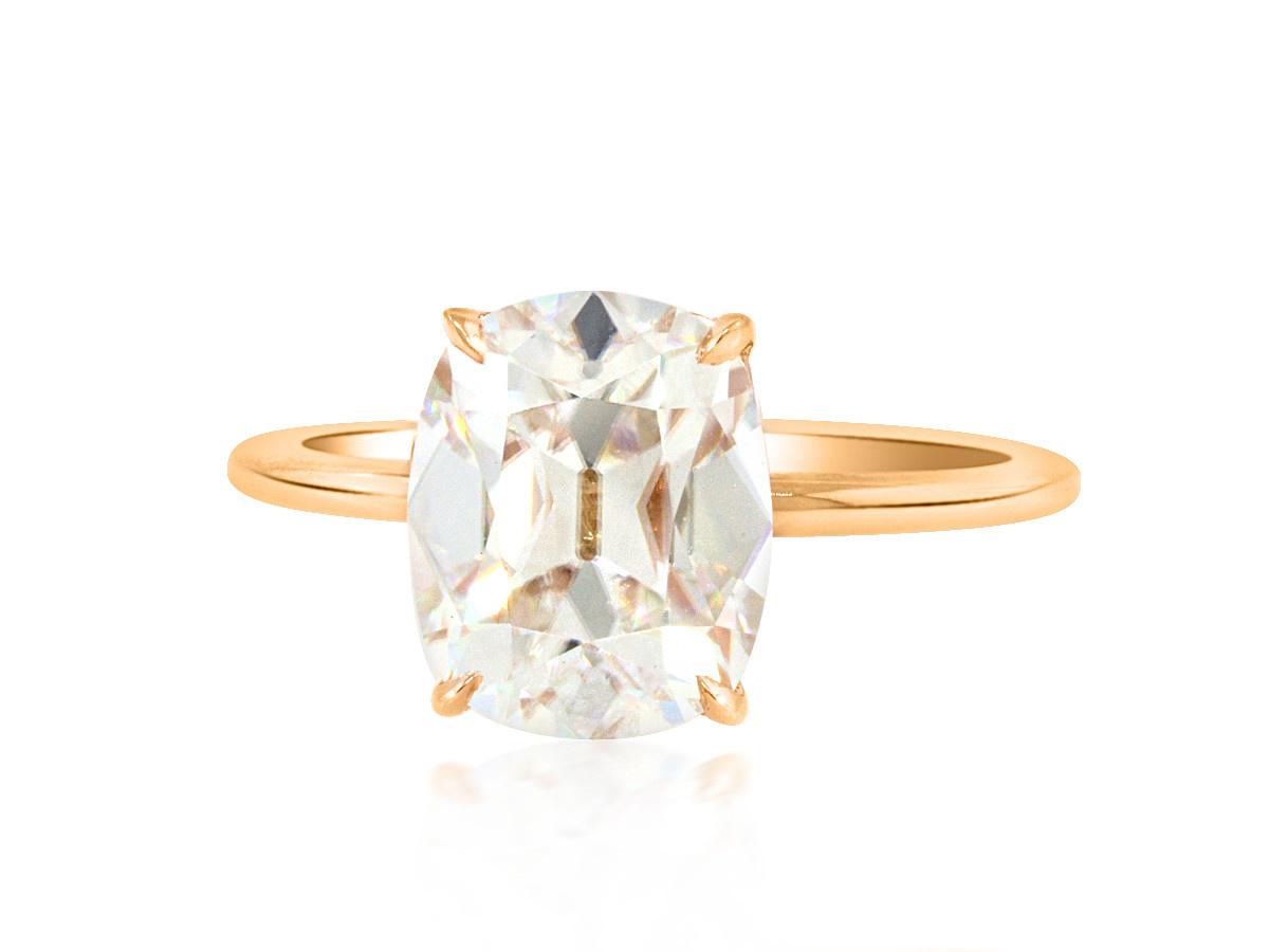 Trabert Goldsmiths 2.69ct Cushion Cut Moissanite Aura Ring